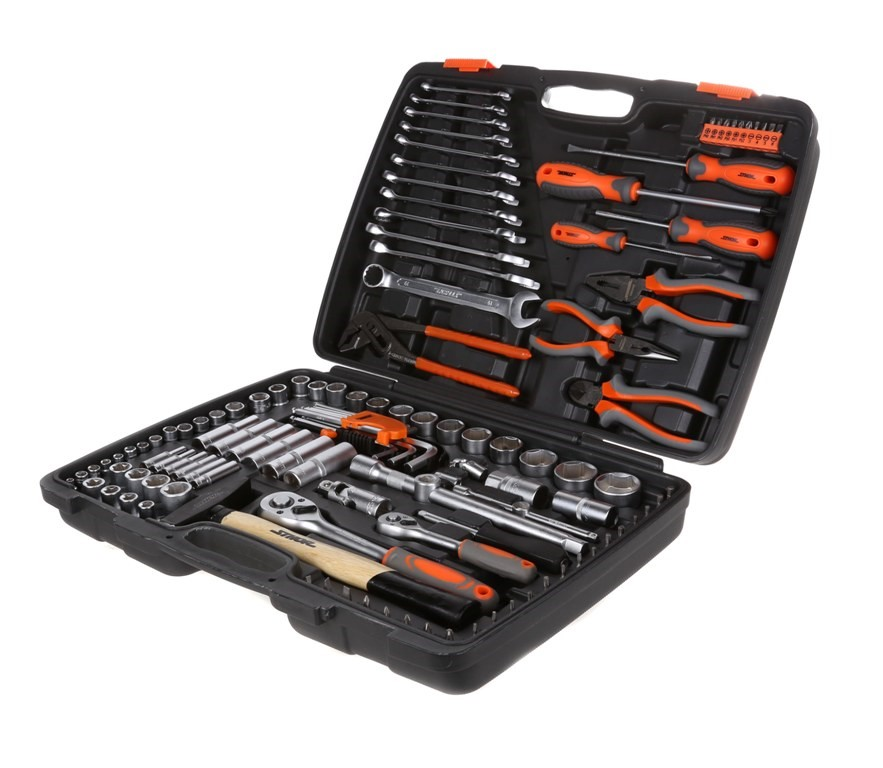 STHOR 122pc Mechanics Tool Set Comprising; 1/2ins & 1/4ins Drive Sockets, S