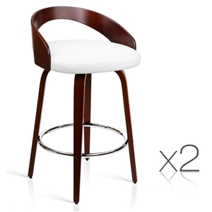 Artiss Set of 2 Wooden Bar Stools - Whit