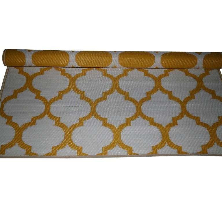 Double Sided Outdoor Rug Yellow White