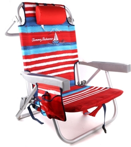 Tommy Bahama Folding Beach Chair With Back Storage Pouches Head Rest