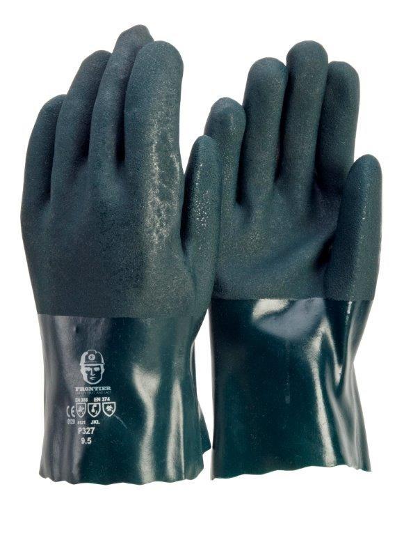 24 x Sand Finish PVC Double Dipped Gloves, Size L, Cotton Interlocked Linin