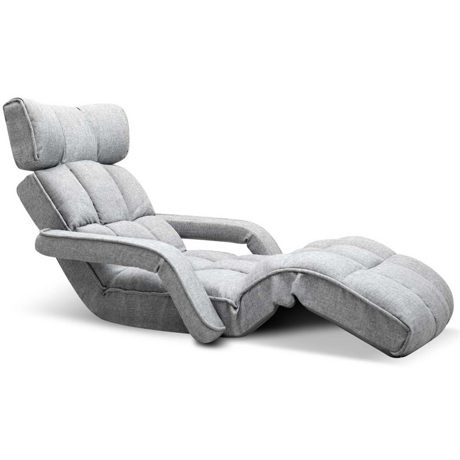 Artiss Adjule Lounger With Arms Grey
