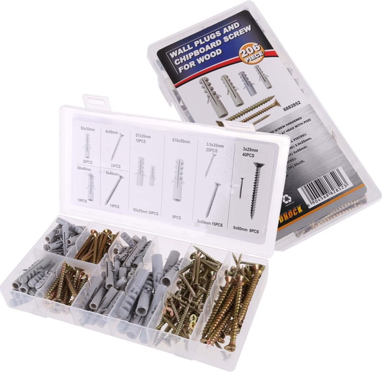 206pc Wall Plug & Wood Screw Assortment. Contents: See Image. Buyers Note -