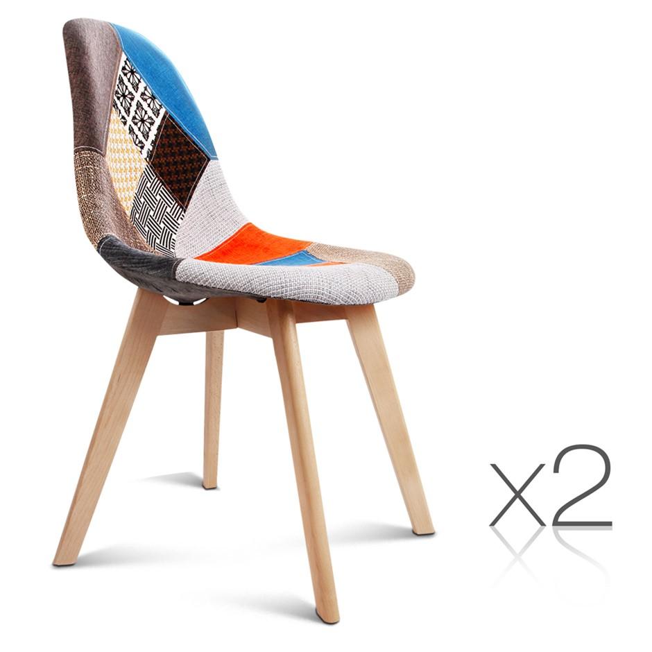 Artiss Set of 2 Retro Beech Fabric Dining Chair - Multi Colour