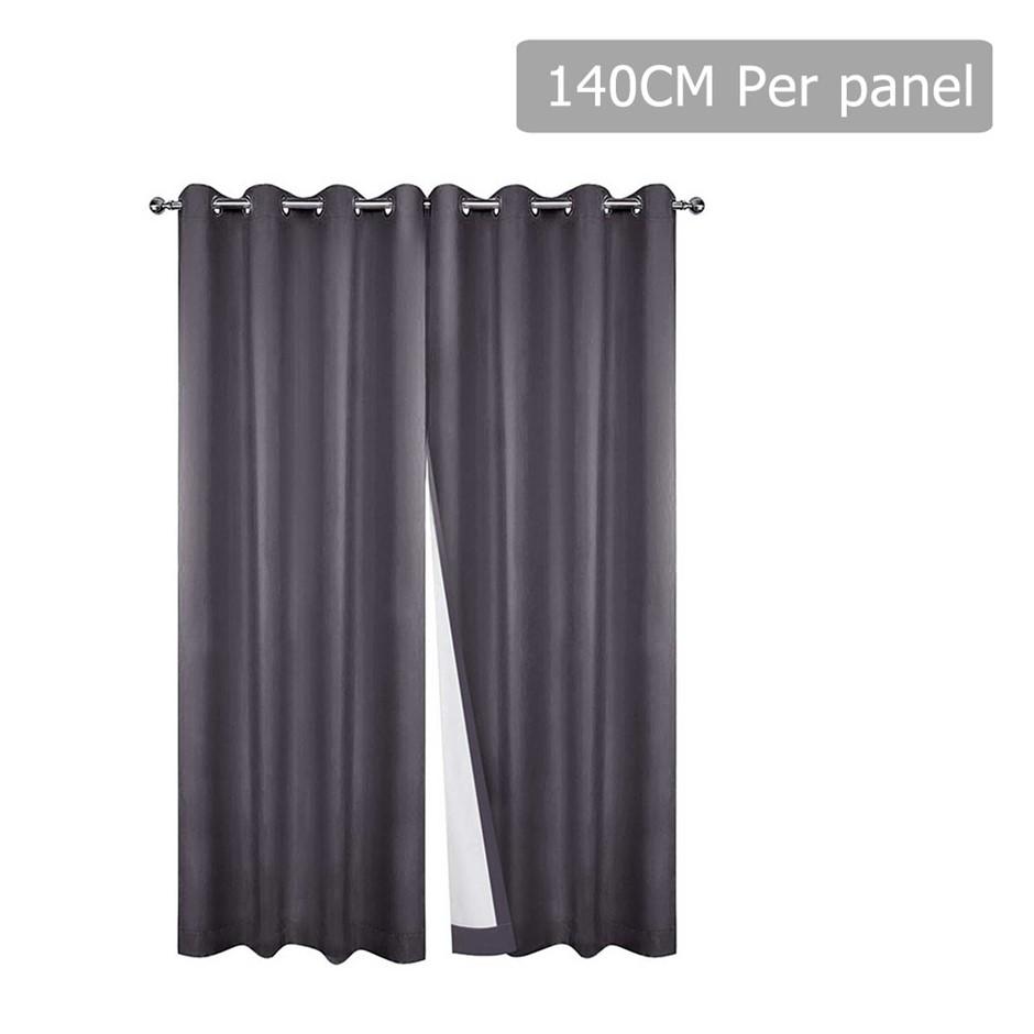 Art Queen 2 Panel 140 x 230cm Eyelet Blockout Curtains - Grey