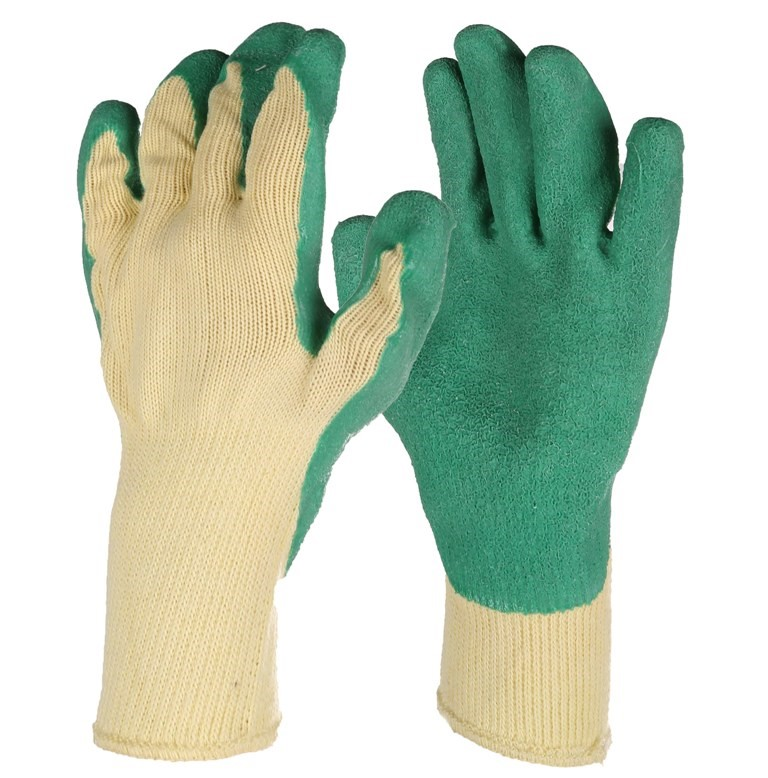 24 Pairs x Industrial Work Gloves, Size XL, Crinkled Latex Palm Cotton. (SN