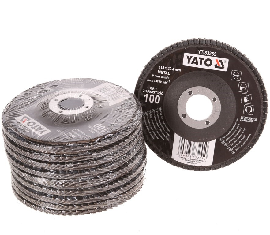 10 x YATO 115mm Flap Discs for Metal, Grit 100. Buyers Note - Discount Frei