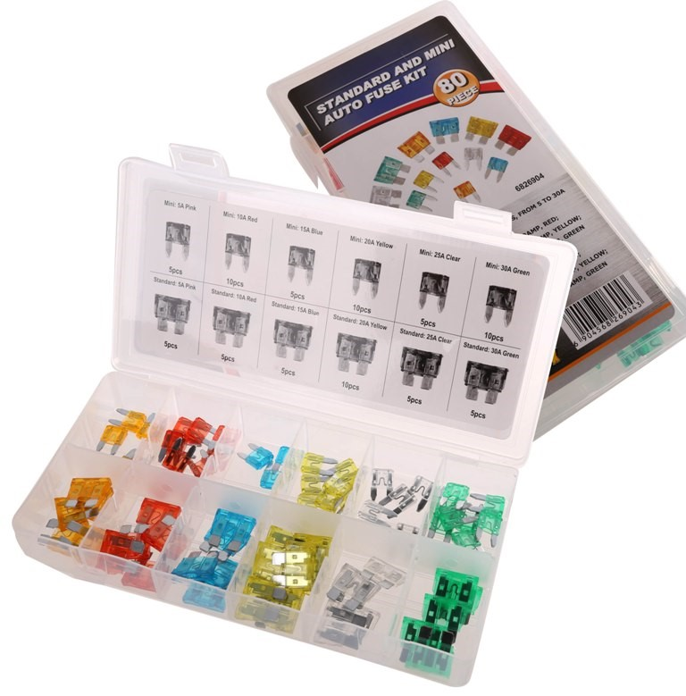 80pc Auto Fuse Kit Standard & Mini, Contents: Refer Image. (SN:6826904) (26