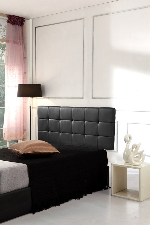 Pu Leather Double Bed Deluxe Headboard Bedhead Black