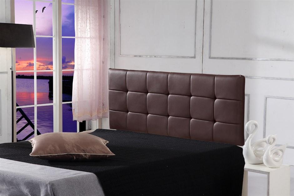 PU Leather Queen Bed Deluxe Headboard Bedhead - Brown