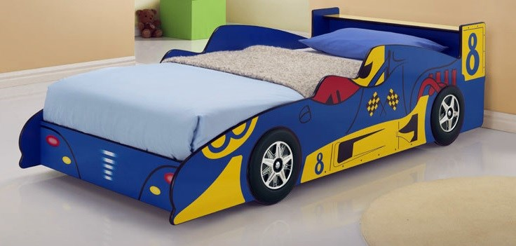blue racing car bed kids race