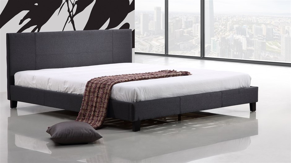 King Linen Fabric Bed Frame - Grey