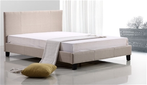 Double Linen Fabric Bed Frame - Beige
