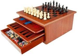 10 in 1 Wooden Chess Board Games Slide O