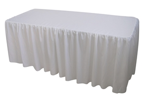 6 Foot Gathered White Table Cloth Trestl
