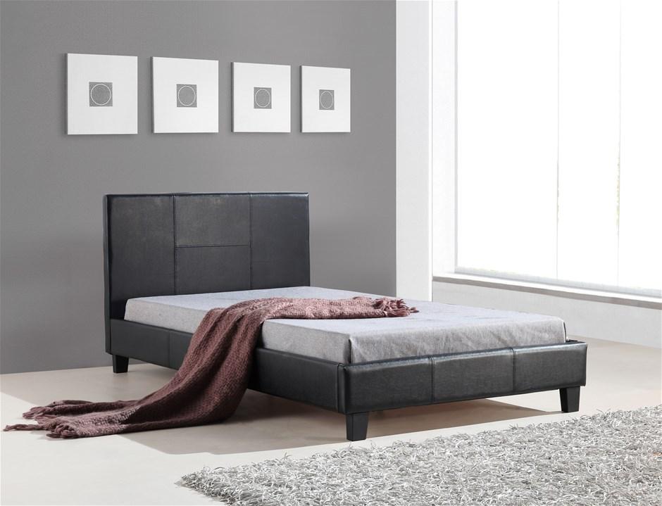 King Single PU Leather Bed Frame Black