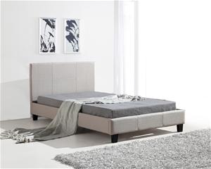 King Single Linen Fabric Bed Frame Beige