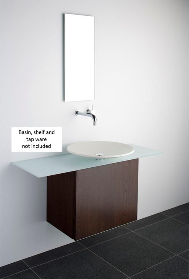 Omvivo Vessel Wall Hung Bathroom Cabinet in Dark Oak Veneer