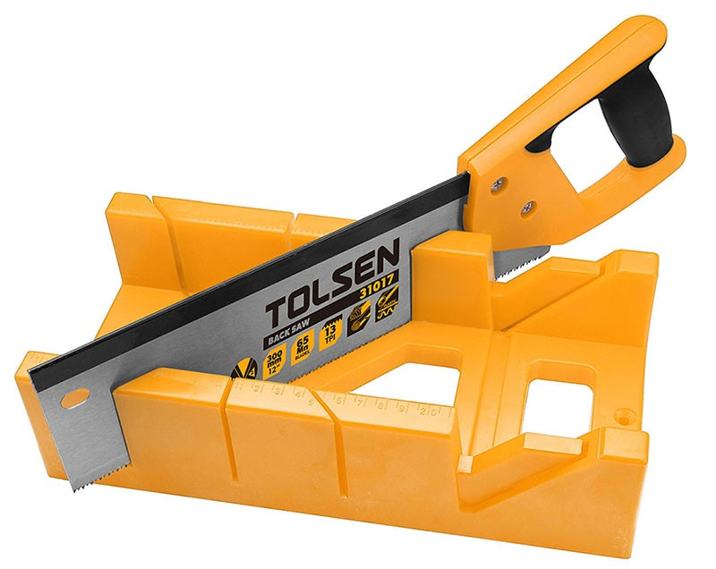 TOLSEN Mitre Box with Back Saw Set, 300mm, Box Size: 300x 140x70mm. Buyers