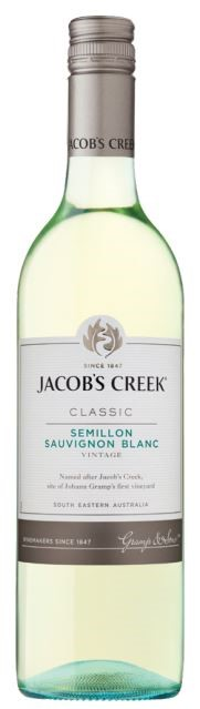 Jacob's Creek `Classic` Semillon Sauvignon Blanc 2018 (12 x 750mL) SE, AUS.