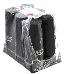 6 x LYNX Africa Body Spray 155ml  N B  One is Half Full  Buyers Note