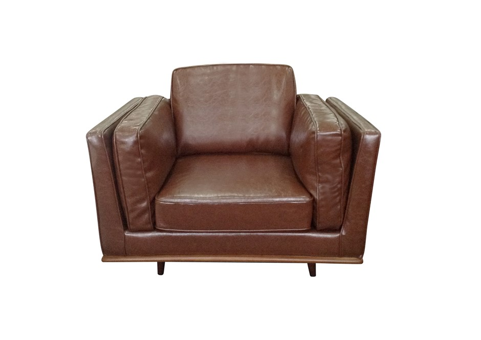 Solid wooden frame Sofa 1 Seater Brown PU