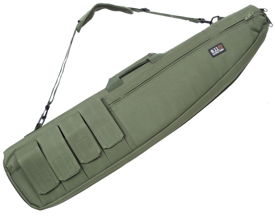 Canvass Rifle Bag 970mm c/w Shoulder Strap and Ammunition Pockets, Army Gre