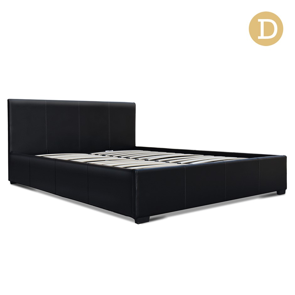 black leather double bed frame - 13 products | Graysonline