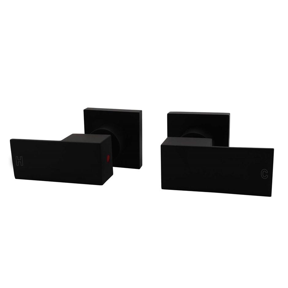 Square Matt Black Wall Top Assembles 1/4 Turn Shower Taps, Watermark