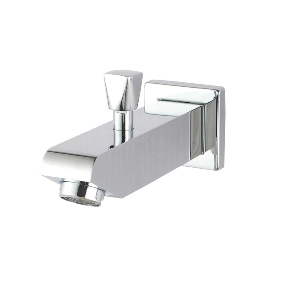 Square Chrome Wall Basin Outlet with Diverter and Handheld Shower Connector