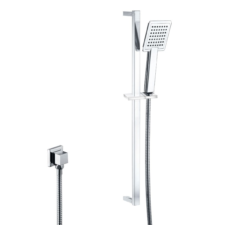 Chrome Square Rainfall Handheld Shower Head With Rail(ABS/Brass)