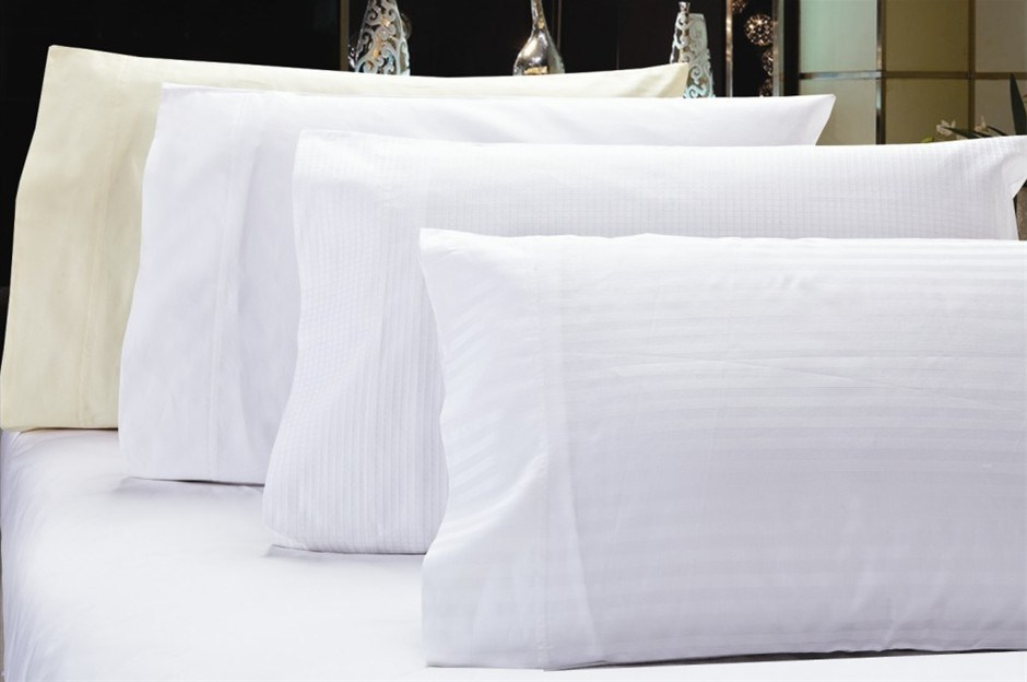 1200 TC Pillow Cases Ivory x 2