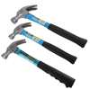 3 x BERENT Claw Hammers, Comprising; 1 x 8oz & 2 x 18oz Rubber Grip & Rubbe