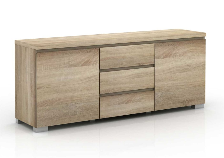 Elara 2 Door 3 Drawer Buffet Unit - Light Sonoma Oak
