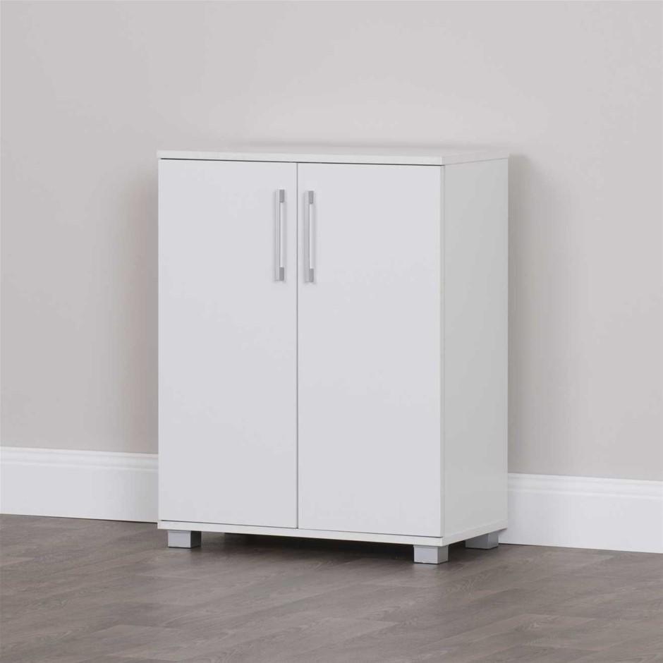 multi purpose 2 door low line cabinet white ebay. Black Bedroom Furniture Sets. Home Design Ideas