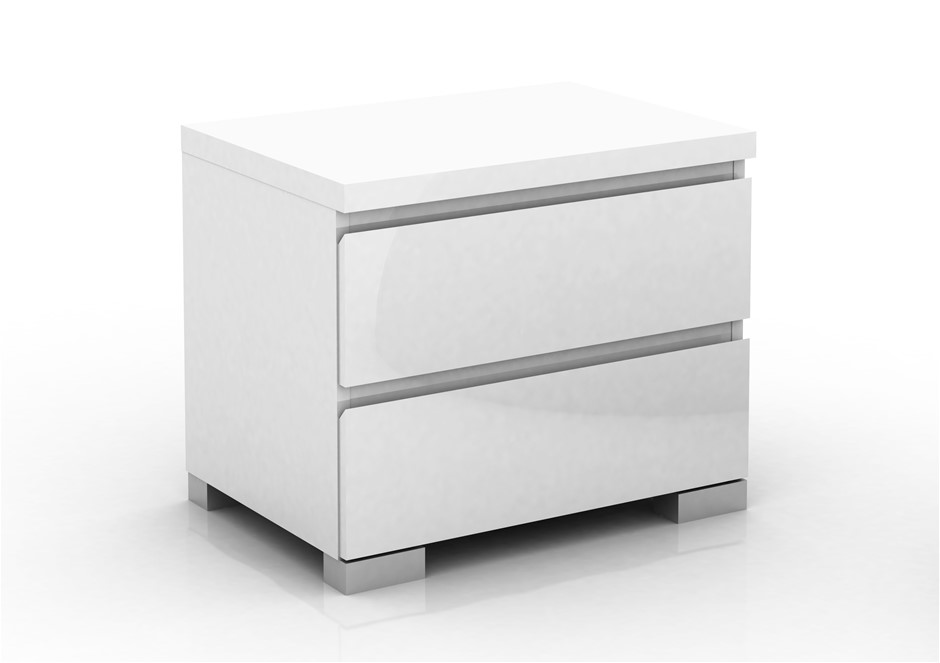 Elara 2 drawer high gloss bedside table white ebay elara 2 drawer high gloss bedside table white watchthetrailerfo