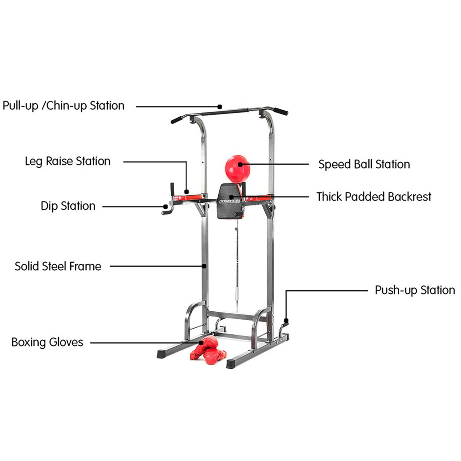 4cdf7bc6398 Details about Powertrain Tower Chin Up Station Home Gym