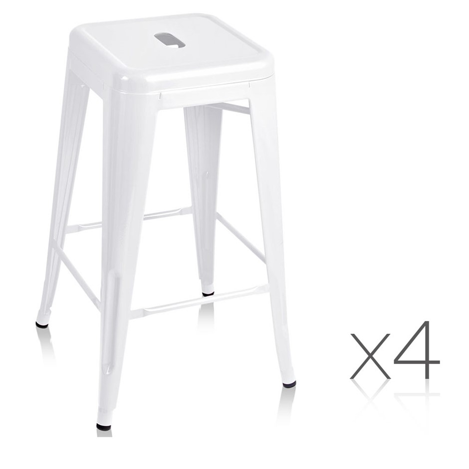 Artiss Set of 4 Metal Backless Bar Stools - White