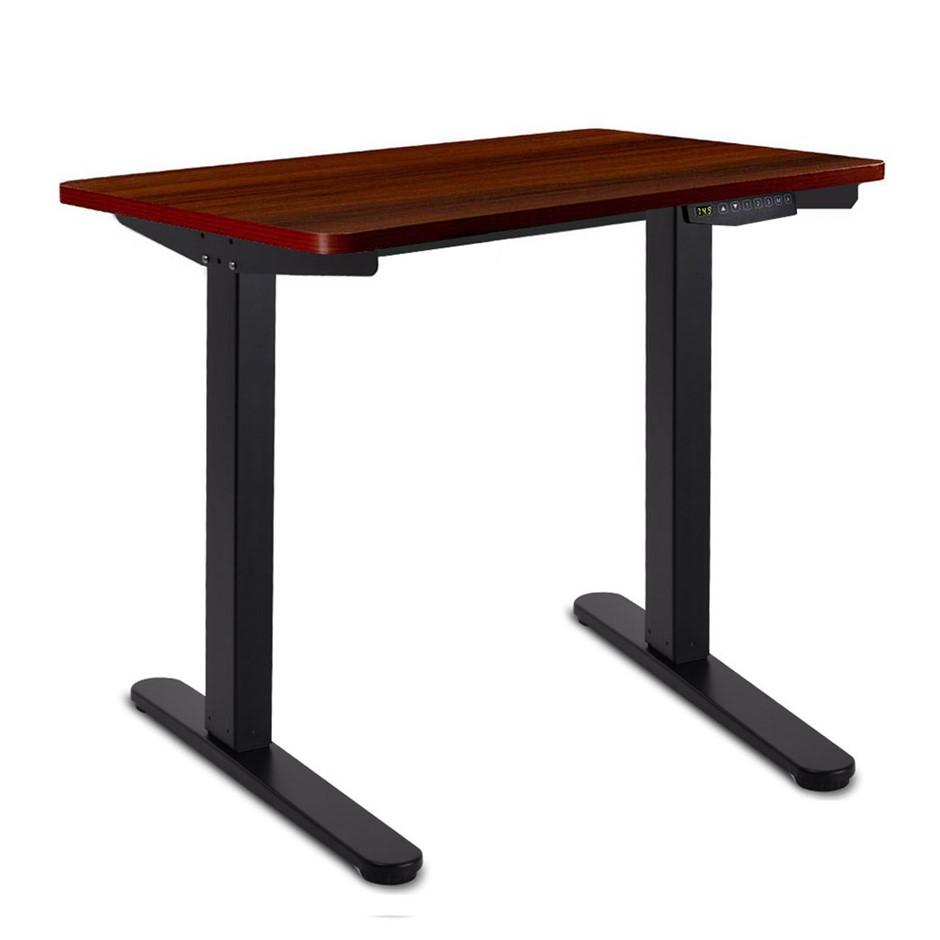 140cm Motorised Height Adjule Sit Stand Desk Walnut