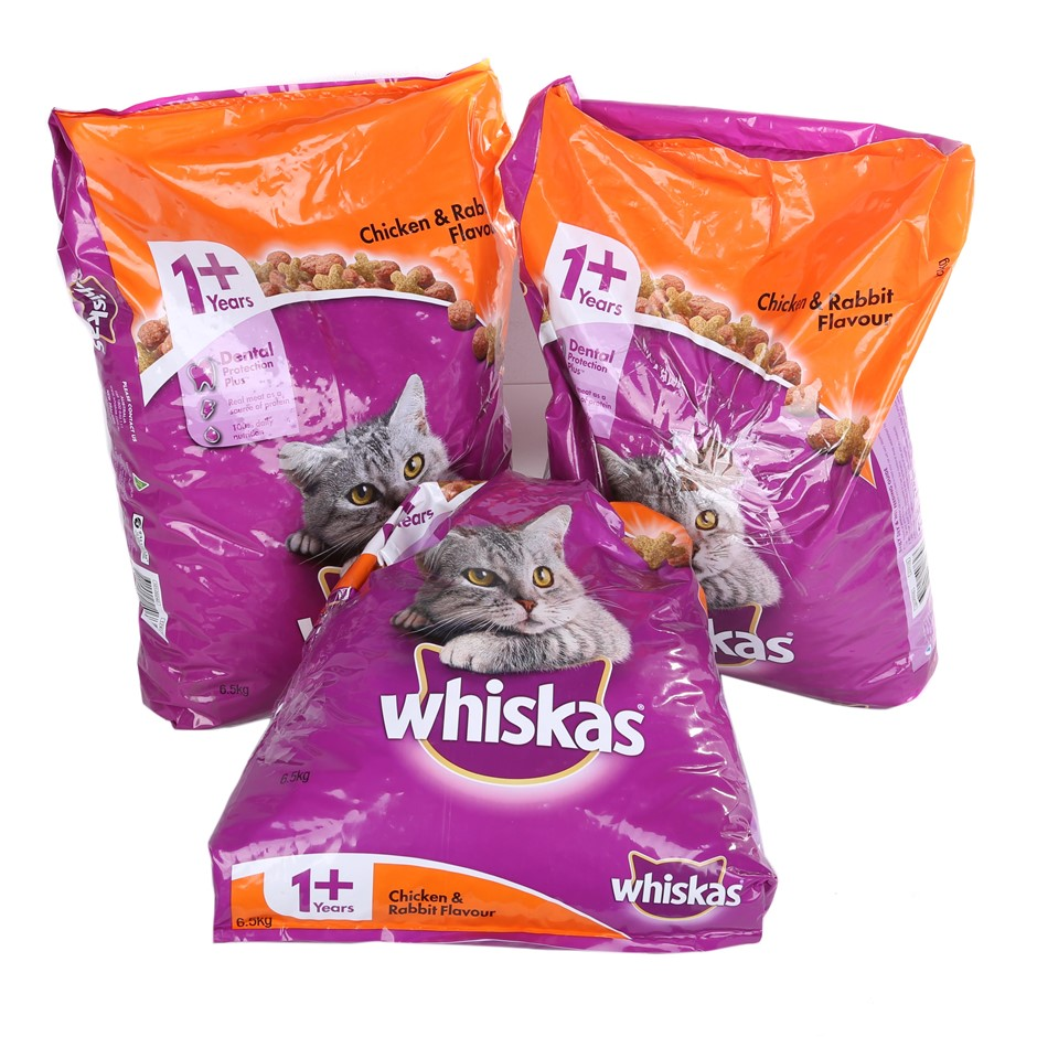 3 x WHISKAS Chicken & Rabbit Flavour Cat Food 6.5kg. N.B. One bag 3/4 full.