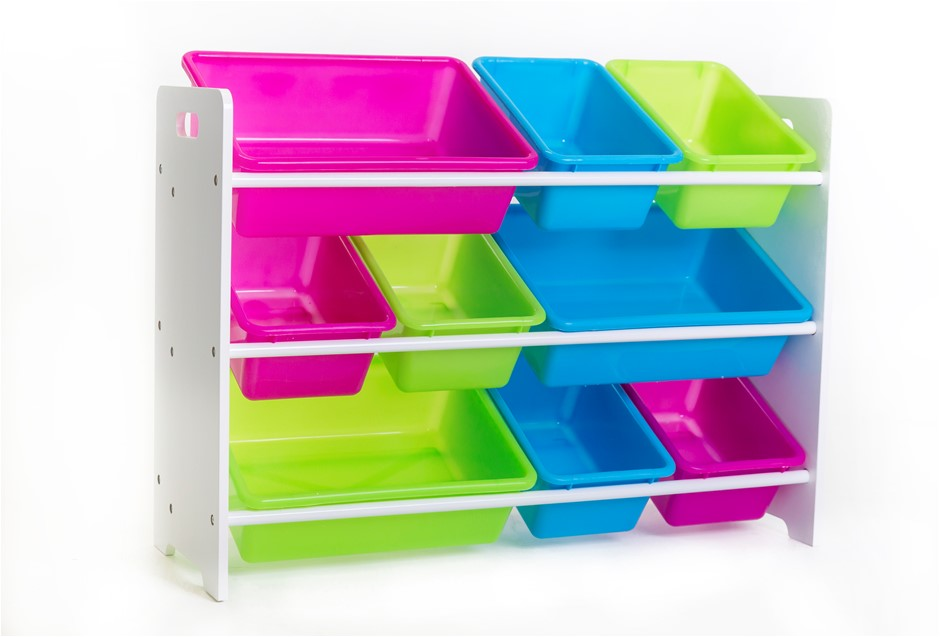 Kid's Toy Organizer with 9 Storage Bins - Multicolor