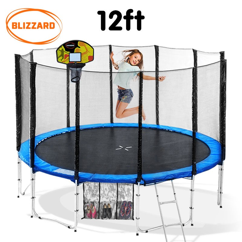 Blizzard 12 ft trampoline with net and basketball set - Blue