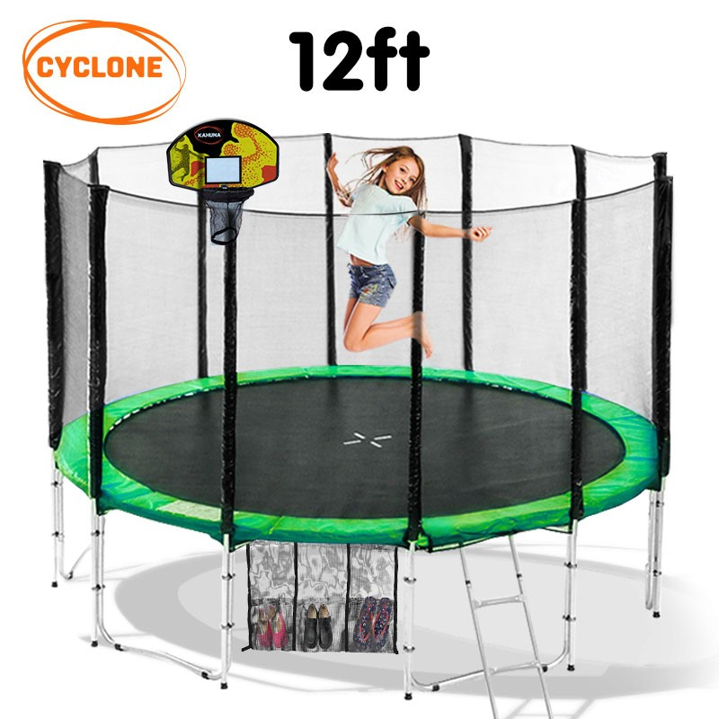 Cyclone 12 ft Springless trampoline with net and basketball set