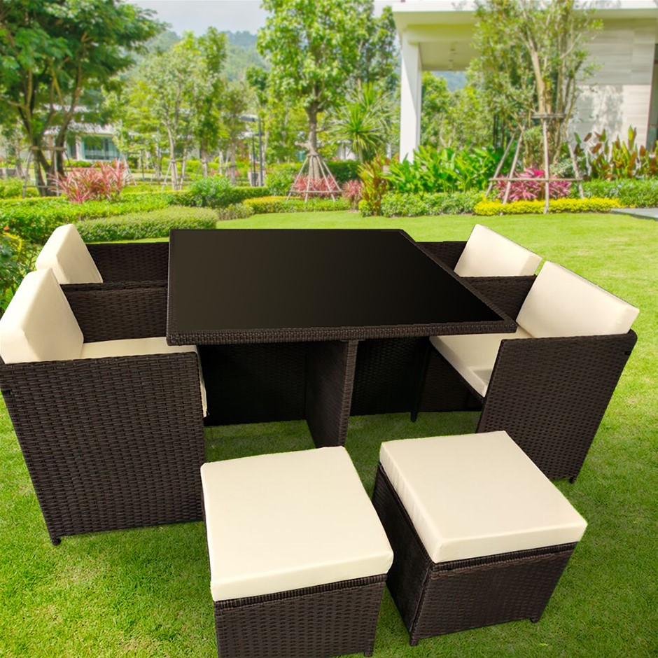 9pc pe rattan cube dining garden set brown