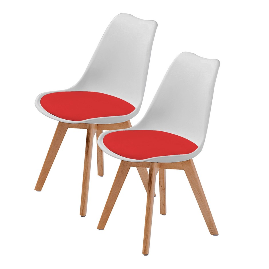 Replica Eames Pu Padded Dining Chair White Red X2