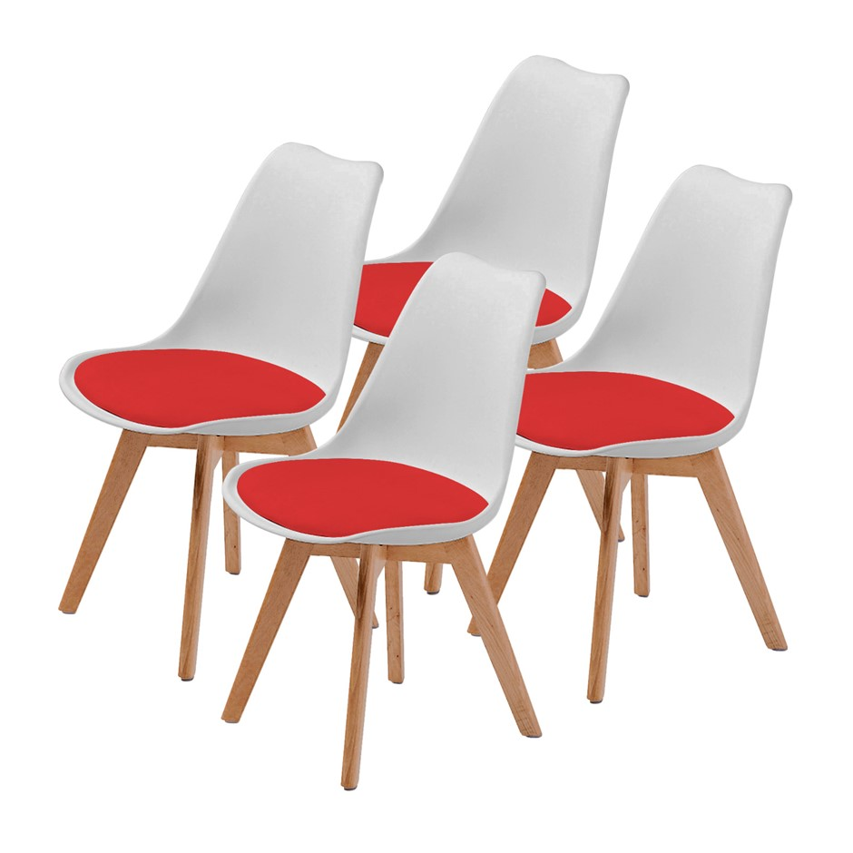 Replica Eames PU Padded Dining Chair - WHITE & RED X4