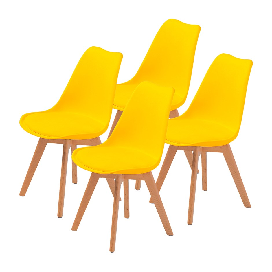 Replica Eames Pu Padded Dining Chair Yellow X4
