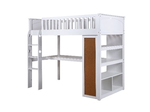 more photos ce248 64289 Windsor King Single Bunk Bed With Desk & Bookshelf - White ...