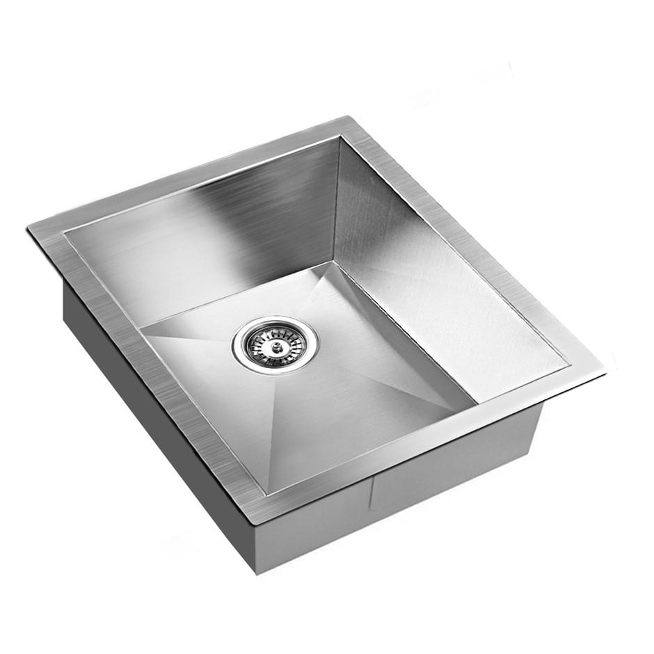 Second hand kitchens melbourne graysonline stainless steel kitchenlaundry sink w strainer waste 390 x 450mm workwithnaturefo