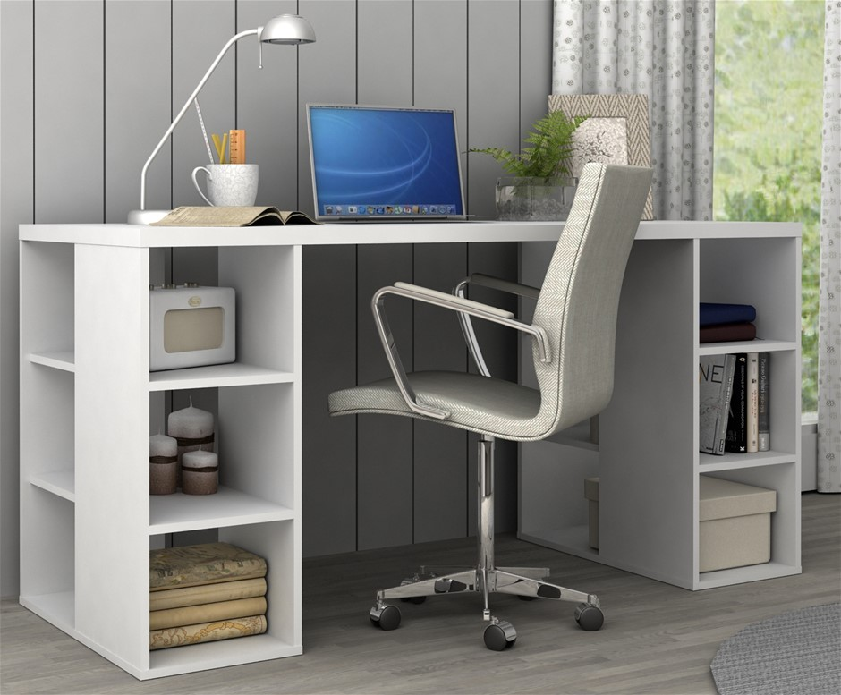 Bloc Modern Desk with Cube Shelves - Matt White